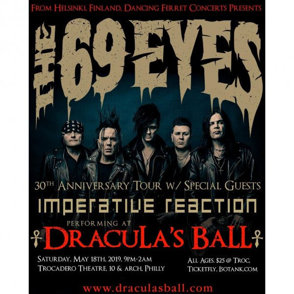 Dracula's Ball: Dracula's Ball 5/18/19 (Imperative Reaction/69 Eyes) Event Ticket - Click Image to Close